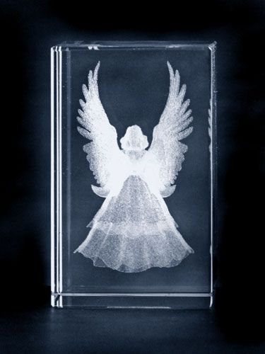 Angel with large wings etched glass art block